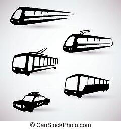 public city transport vector icons set