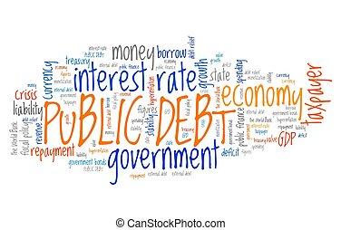 Public debt - national economy financial crisis word collage.