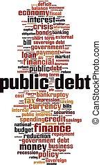 Public debt word cloud concept. Vector illustration