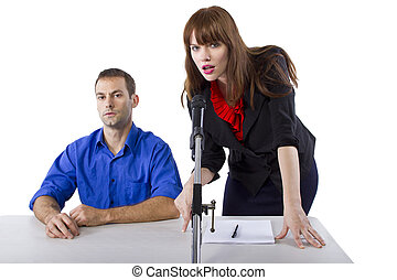 Public Defender - female lawyer representing male client in...