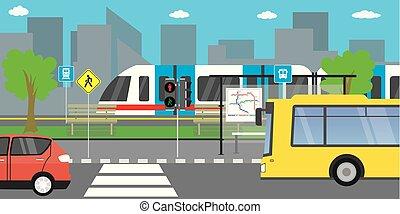 public, différent, vide, route, transport, rue, ville