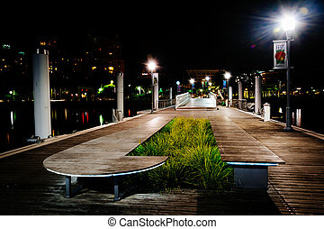 Public dock at night, in West Palm Beach, Florida.