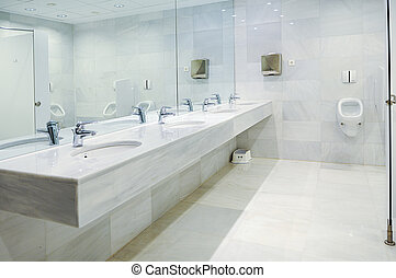 Public empty restroom with washstands mirror