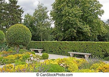 Public garden in summer