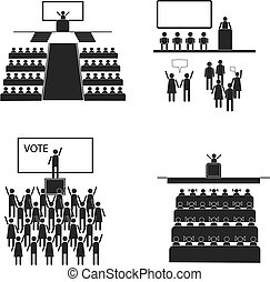Public hall - Character set voting, elections. Stick in the...