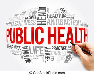 Public health word cloud collage, healthcare concept