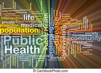 Public Health wordcloud concept illustration glowing -...