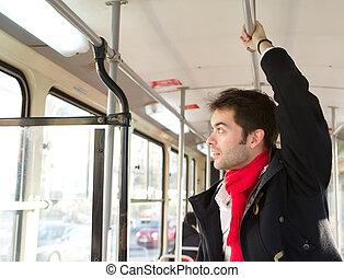 public, homme, jeune, transport, voyager