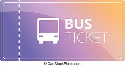public, icône, billet autobus, style, dessin animé