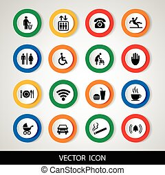 Public icons set. Vector illustration