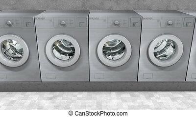 Public laundry machines