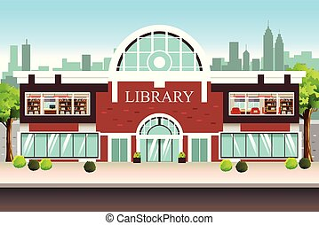 Public Library Building Illustration