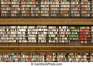 public library - Background with many shelves with books in...