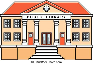 Public library vector Doodle Illustration cartoon