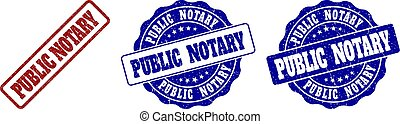 PUBLIC NOTARY Scratched Stamp Seals
