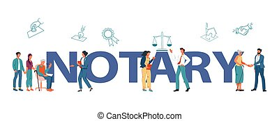 Public notary service banner template with cartoon characters of lawyers and their clients. Notarial signing and will legalization, legal assistance and legitimate attorney, flat vector illustration.