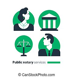 Public notary services icons set, law firm man advocacy ...