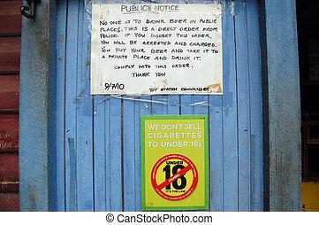 Public notice at the door