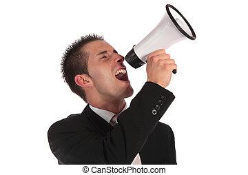 Public notice - A handsome businessman using a megaphone....