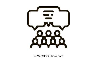 public opinion Icon Animation. black public opinion animated icon on white background