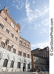 Public Palace and it's Mangia Tower in Siena, Italy