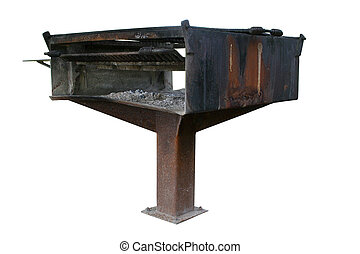 Large rusty public BBQ grill over white.