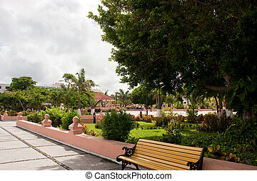 A nice public park in a square in Cozumel Mexico