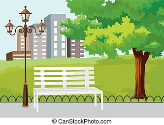 Public park in the city vector background