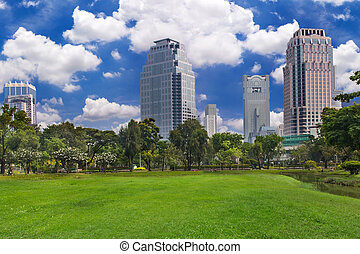 Public park in the city with blue sky