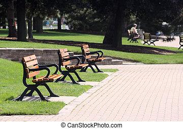 Park benches at a public park