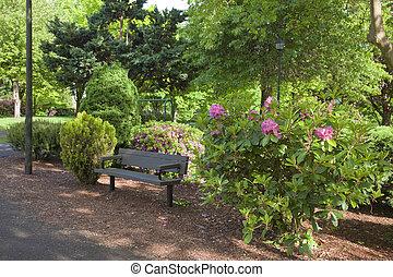 Public park in a neighborhood.