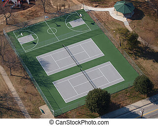 Public Park Tennis and Basketball Courts Aerial