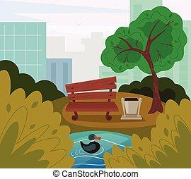 Public park. Vector flat cartoon illustration