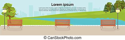 Public Park With Benches, Green Lawn And Trees Over River Or Lake On City Buildings Template Background Horizontal Banner