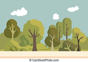Public park with nature landscape. Summer beautiful landscape. Environment garden with sky background. Nature scene flat design. Vector illustration
