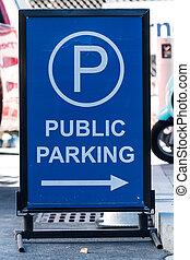 Public Parking Arrow Sign