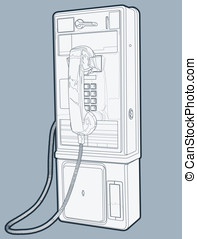 Public Pay Phone - This is a vector line drawing (lines have...