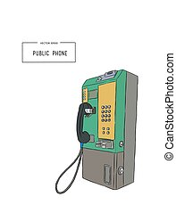 public phone hand draw sketch vector.