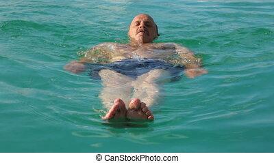 public, piscine, natation, homme