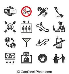 Public places Information signs icons set