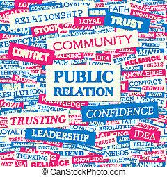 PUBLIC RELATION. Concept illustration. Graphic tag ...