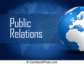 Public Relations concept with globe on blue background