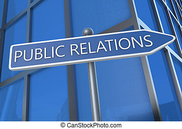 Public Relations - illustration with street sign in front of...