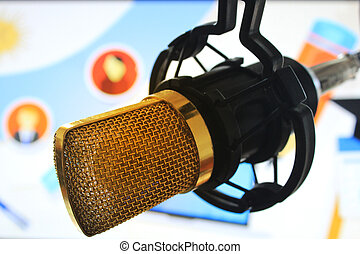 public relations PR microphone for news global map world press people talking