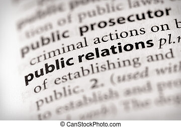"""Public Relations - Selective focus on the words \\\""""public..."""
