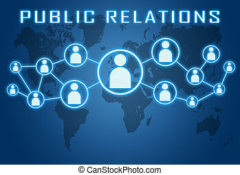 Public Relations concept on blue background with world map...
