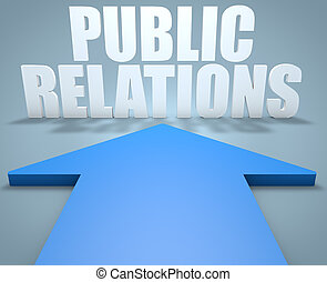 Public Relations - 3d render concept of blue arrow pointing...