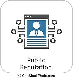 Public Reputation Icon. Modern computer technology sign....