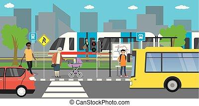 public, route, différent, transport, rue, transport, ville, arrêt