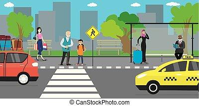 public, route, gens, stand, rue, transport, aller, ville, arrêt